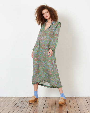 Ruffle Dress in Green Tapestry