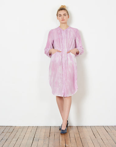 Shirred Bell Dress in Peony Tie Dye