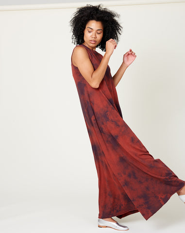 Sleeveless Drama Maxi in Red Tie Dye