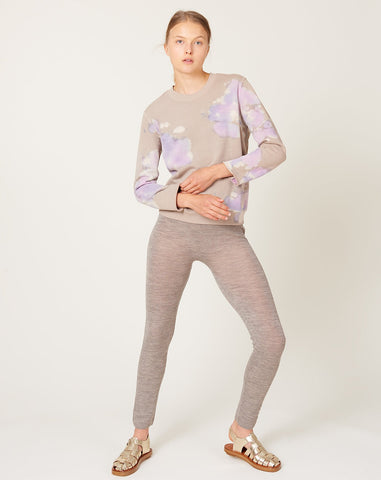 Small Sweatshirt in Taupe Lilac Tie Dye