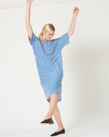 T Shirt Dress in French Blue Stripe