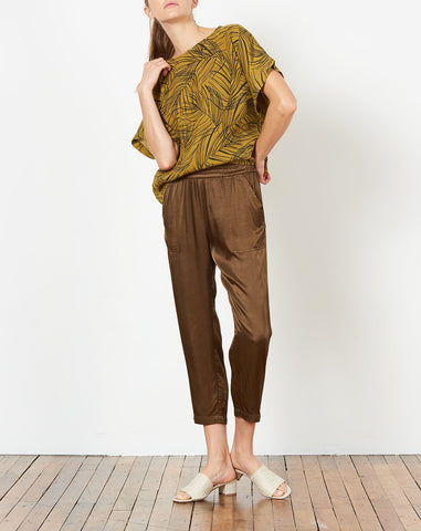 Trapunto Pant in Olive