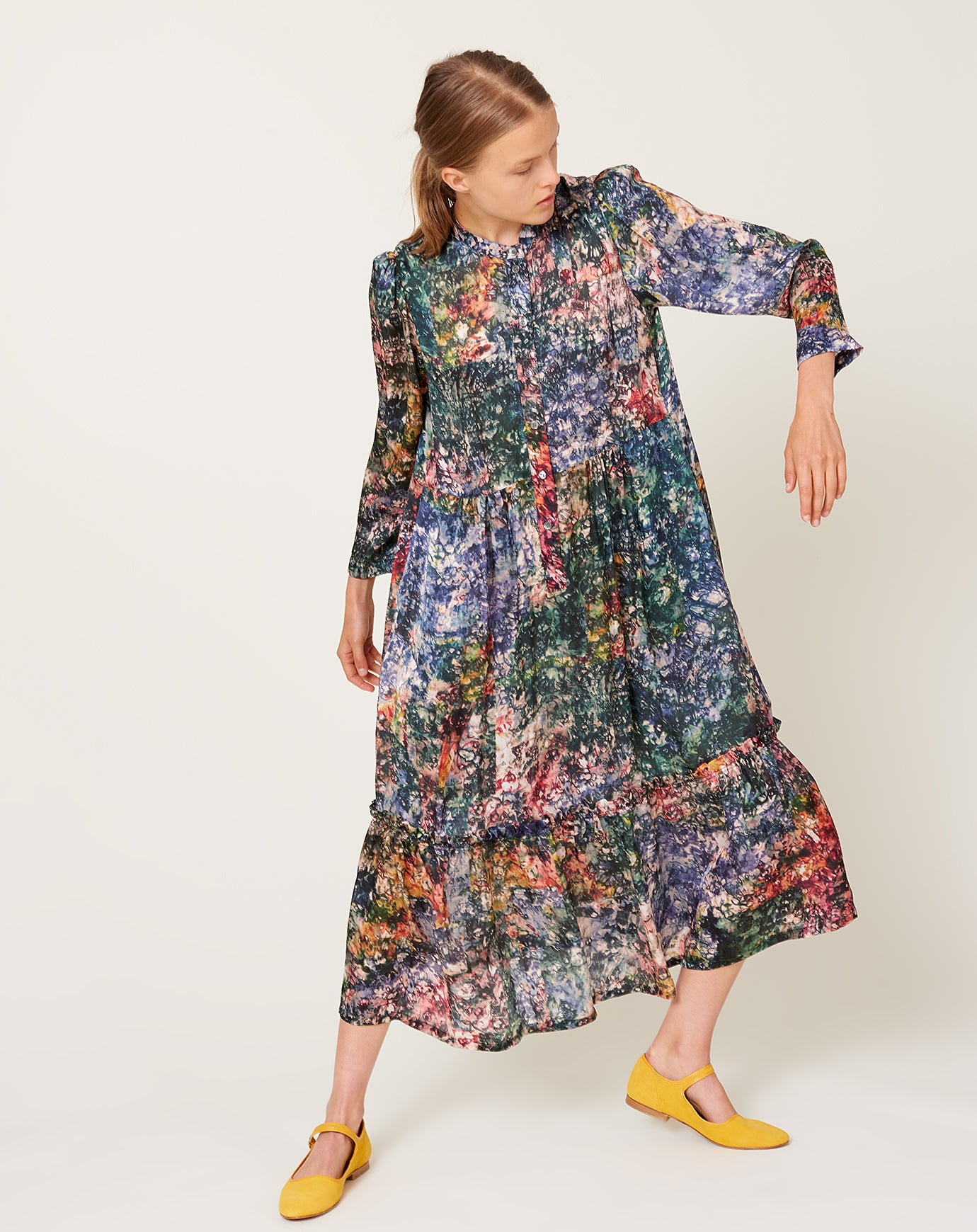 Twila Dress in Teal Gara Flower
