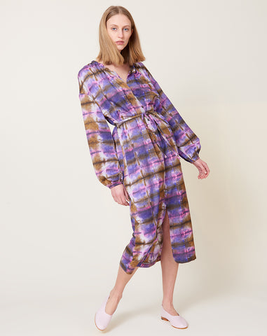 Wrap Dress in Plaid Tie Dye