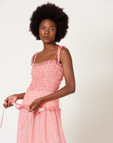 Rainer Dress in Orange Gingham