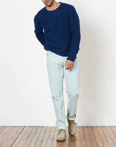 Miguel Waffle Knit Sweater in Cobalt