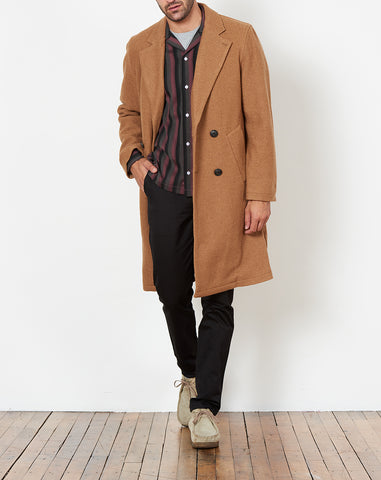 Saul Double Breasted Top Coat in Burnt Khaki