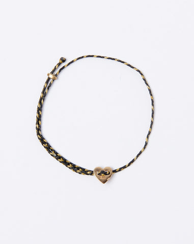 Signature Heart Slider Bracelet in Black and Gold