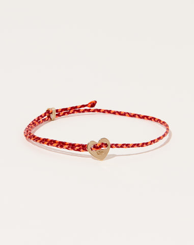 Signature Heart Slider Bracelet in Red and Neon Pink