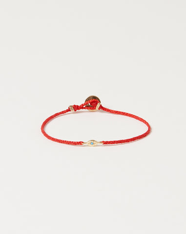 Gold Tiny Evil Eye Bracelet in Scarlet