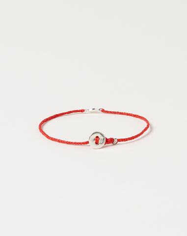 Silver Tiny Evil Eye Bracelet in Scarlet