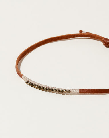 Beige and Hematite Leather Bracelet