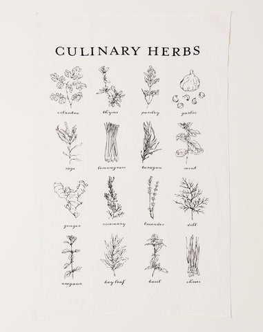 Culinary Herbs Tea Towel