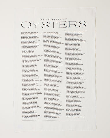 Oyster List Tea Towel
