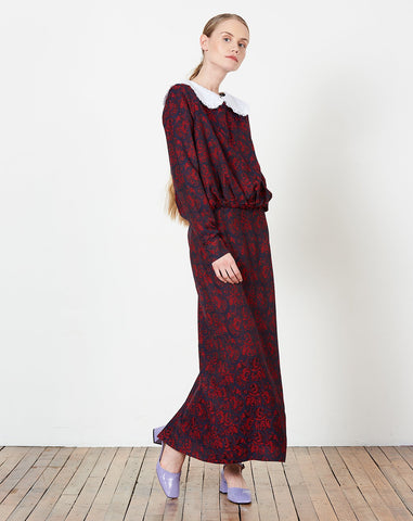 Blouson Dress in Red and Navy Paisley Jacquard
