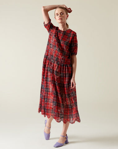 Pintuck Dress in Plaid Lace