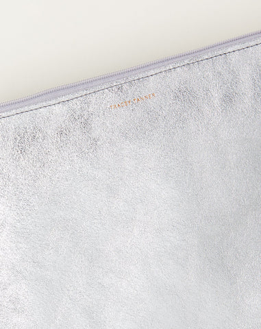 Large Flat Zip Pouch in Silver Foil