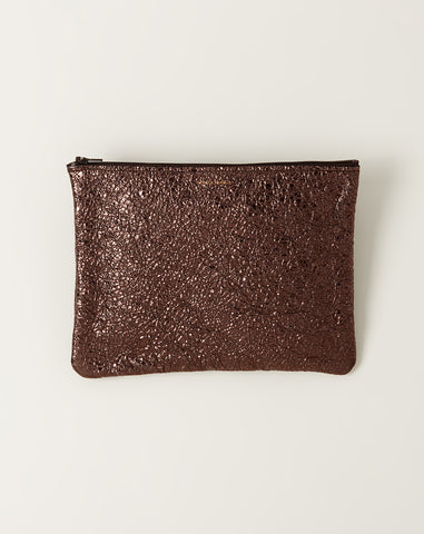 Large Zip Pouch in Gravel Crinkle