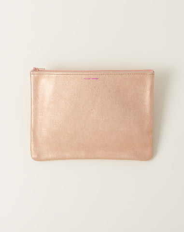 Large Zip Pouch in Rose Gold and Platinum