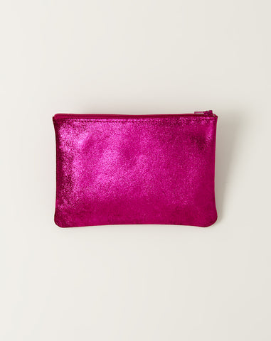 Medium Flat Zip Pouch in Cotton Candy Sparkle