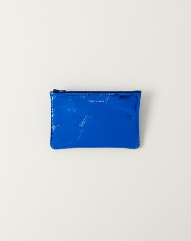 Small Flat Zip Pouch in Cobalt Foil