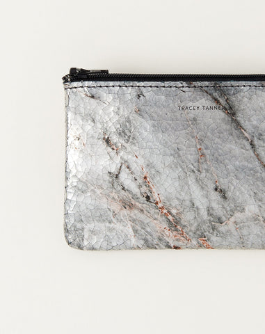 Small Flat Zip Pouch in Marble Cool