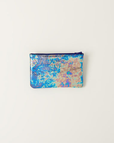 Small Flat Zip Pouch in Oil Slick