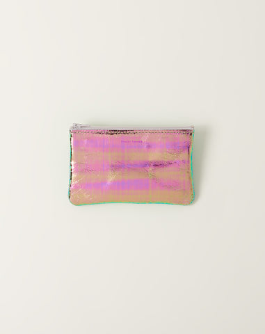 Small Flat Zip Pouch in Slick Foil