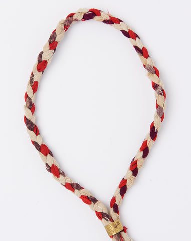 Braided Fabric Lariat in Red