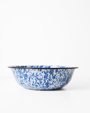 Vintage Enamel Serving Bowl in Blue
