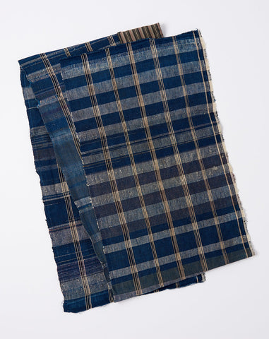 Japanese Large Plaid Scarf in Indigo