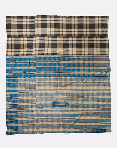 Japanese Large Plaid Throw in Indigo and Washed Black