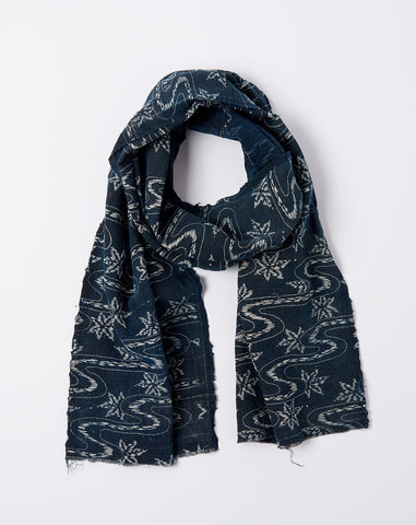 Japanese Leaf Print Scarf in Indigo