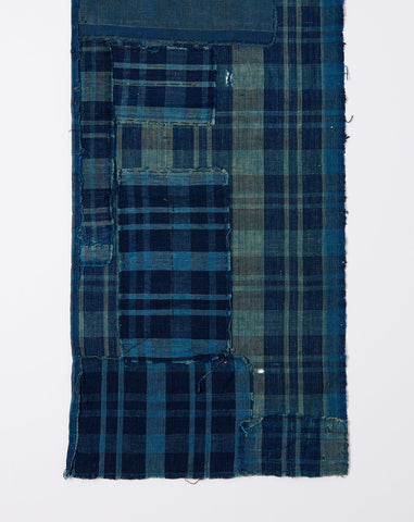 Japanese Patched Plaid Scarf in Indigo