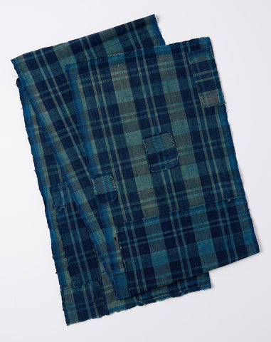 Japanese Plaid Scarf in Indigo