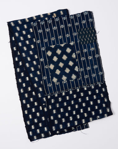 Japanese Striped Ikat Scarf in Dark Indigo