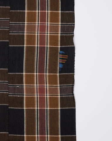 Oversized Scarf in Dark Brown Madras