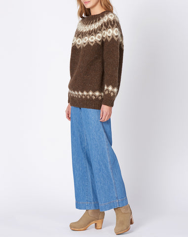 Scandanavian Intarsia Knit Sweater in Brown