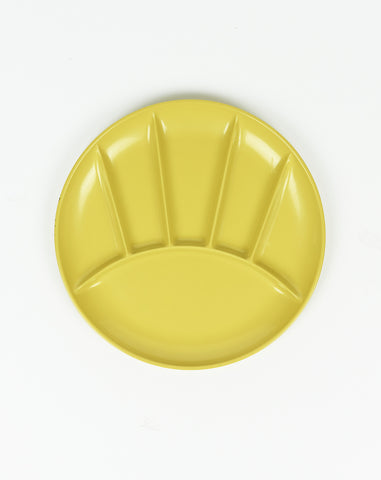 Set of Six Sectional Picnic Plates in Yellow
