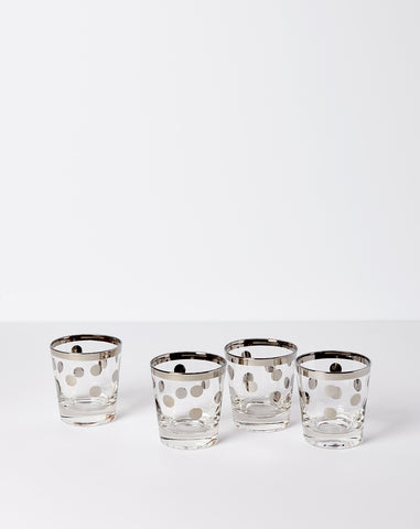 Set of Four Dotted Cocktail Glasses