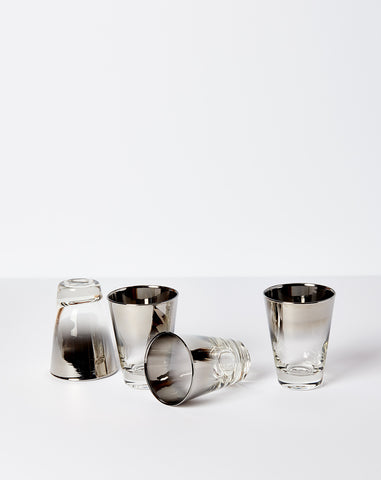 Set of Four Silver Dipped Cocktail Glasses