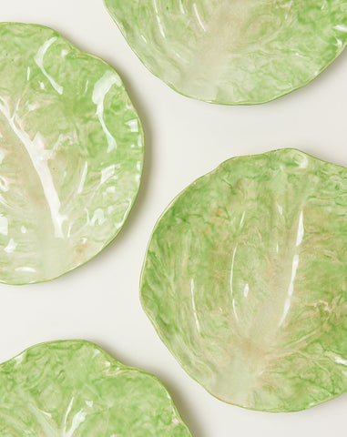 Set of Four Wannopee Pottery Lettuce Leaf Plates