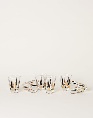 Set of Six Tall Mid Century Shot Glasses