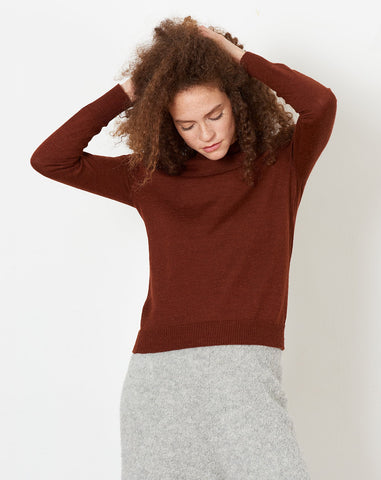 Layering Rib Mockneck in Currant