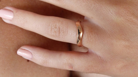14K Rose Gold Curved Ring