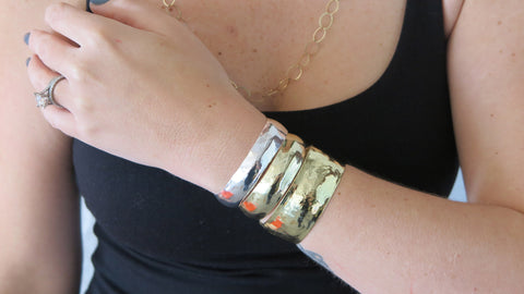 Thin/Medium Silver/Gold Hammered Cuff Set 1