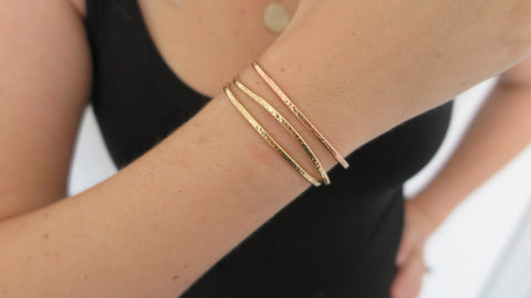 Hammered Cuff Set 4 (2 Thin Gold, 1 Thin Rose)
