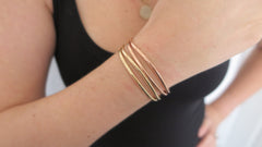 Hammered Cuff Set 5 (2 Thin Gold, 2 Thin Rose)
