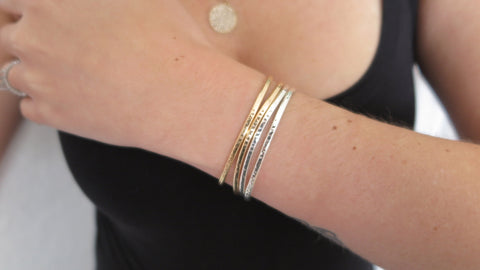Hammered Cuff Set 3 (2 Thin Gold, 2 Thin Silver)