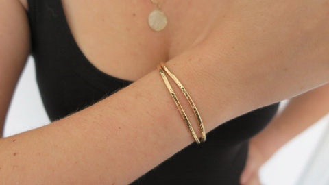 Hammered Gold Cuff Set